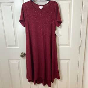 NWT MED LULAROE CARLY HOLIDAY WINE SPARKLING